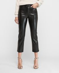 Express Super High Waisted Faux Leather Button Fly Straight Cropped Pant Black 00 Short