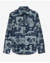 Express Slim Bandana Print Denim Shirt - Blue