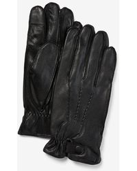 Express Genuine Leather Touchscreen Compatible Gloves - Black