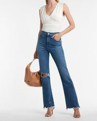 Express High Waisted Ripped Raw Hem 90s Bootcut Jeans, Size:12 Long - Blue