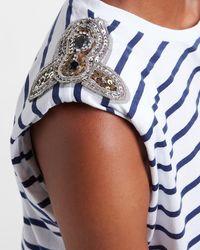 Express Striped Embellished Rhinestone Padded Shoulder Tee Blue Print