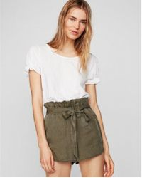 Express - High Waisted Silky Soft Twill Paperbag Shorts - Lyst
