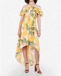 Express Floral Off The Shoulder Halter Hi-lo Maxi Dress Yellow Print