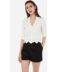 Express Slim Fit Cropped Eyelet Portofino Shirt White