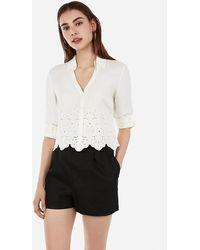 Express Slim Fit Eyelet Portofino Shirt White