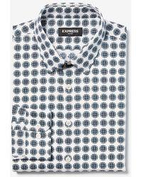 Express Classic Geometric Print Dress Shirt White Xs