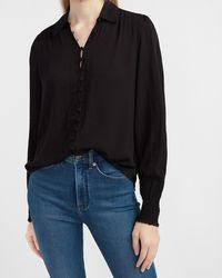 Express Textured Satin Smocked Cuff Portofino Shirt Pitch Black