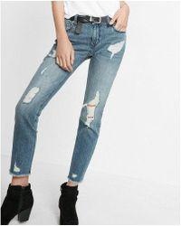 Express - Mid Rise Ripped Original Boyfriend Jeans - Lyst