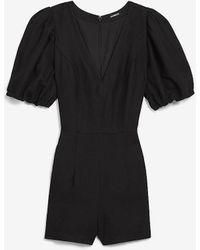 Express Linen-blend Puff Sleeve Romper Pitch Black