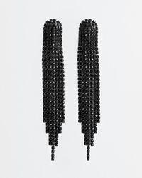 Express Rhinestone Fringe Drop Earrings Black Diamond