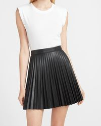 Express High Waisted Pleated Faux Leather Tennis Skirt Black 0