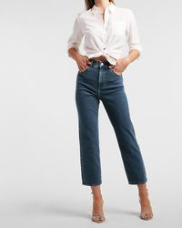 Express Super High Waisted Dark Wash Cropped Straight Jeans, Size:4 - Blue