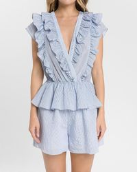 Express Endless Rose Striped Ruffle Romper - Blue