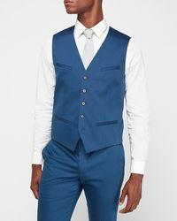 Express Blue Cotton Sateen Suit Vest Blue Xs
