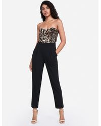 Express Leopard Print Sweetheart Neck Strapless Jumpsuit Brown Print