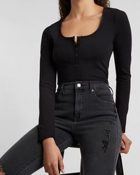 Express Fitted Scoop Neck Henley Thong Bodysuit Black S