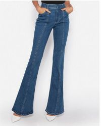 Express - Super High Waisted Denim Perfect Bell Flare Jeans, Women's Size:14 Short - Lyst