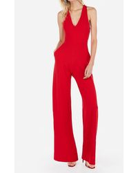 Express Cross Back Wide Leg Palazzo Jumpsuit Red Xl