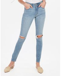 Express High Waisted Light Wash Ripped Jeggings, - Blue