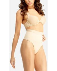 Express Slimme By Memoi High Waisted Thong Neutral M - Natural