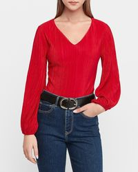 Express Pleated Balloon Sleeve Thong Bodysuit Red Xxs