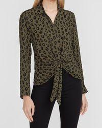 Express Leopard Tie Front Portofino Shirt Green Xxs