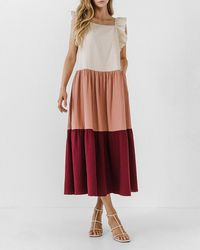 Express Free The Roses Colorblock Midi Dress Burgundy - Red