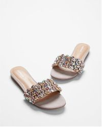Express - Jeweled Slide Sandals - Lyst