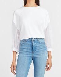 Express Metallic Clip Dot Sleeve Sweatshirt White