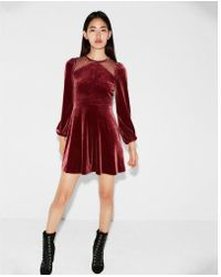 Express - Mesh Inset Velvet Fit And Flare Dress - Lyst