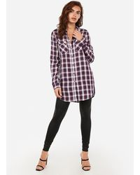 Express Plaid Oversized Tunic Red Print