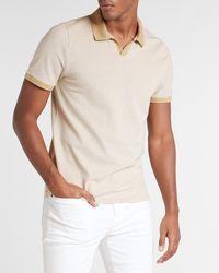 Express Solid Contrast Collar Luxe Pique Polo Neutral S - Multicolor