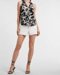 Express Tropical Print Sleeveless Button Front Shirt Black Print
