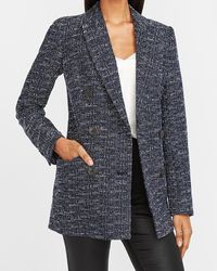 Express Double Breasted Boucle Cropped Business Blazer Black White