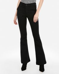 Express High Waisted Black Bell Bottom Flare Jeans,