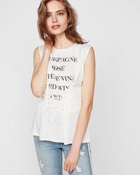 Express Drinks List Graphic Corset Tank White