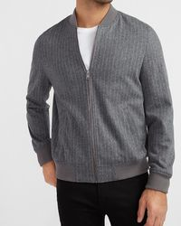 Express Grey Striped Luxe Comfort Soft Bomber Jacket Grey Xs