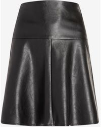 Express High Waisted Faux Leather Flare Mini Skirt Pitch Black