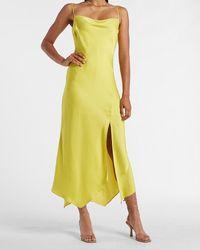 Express Satin Cowl Neck Maxi Slip Dress Green L