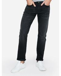 Express Big & Tall Slim Straight Black Stretch Jeans, Size:w40 L32