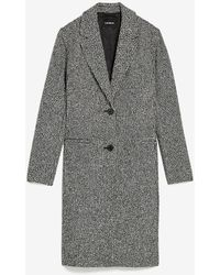Express Houndstooth Two Button Car Coat Black White