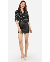 Express Slim Fit Dot Print Ruffle Collar Portofino Shirt Black And White