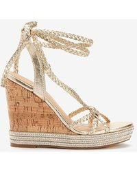 Express Metallic Woven Tie Cork Heel Wedge Sandals