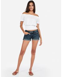 Express Low Rise Relaxed Double Roll Denim Shorties Blue
