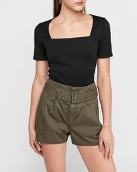 Express Super High Waisted Belted Paperbag Twill Shorts Green 0