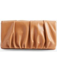 Express Ruched Faux Leather Clutch Brown