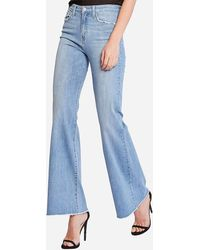 Express Flying Monkey Super High Waisted Bell Bottom Flare Jeans - Blue