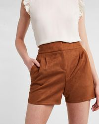 Express High Waisted Pleated Faux Suede Shorts Burnt Sienna - Brown