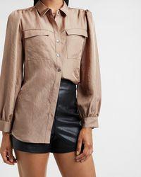 Express - Satin Flap Pocket Shirt Neutral S - Lyst