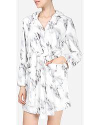 Express Memoi Marble Plush Short Robe - Multicolour